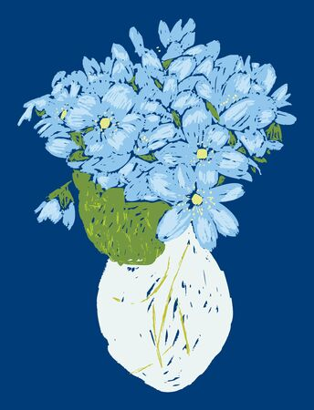 Vector card with sketch of bouquet blue violets in vase