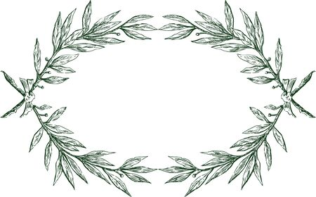 Vector decorative frame from sketches laurel branches with ribbon Ilustrace