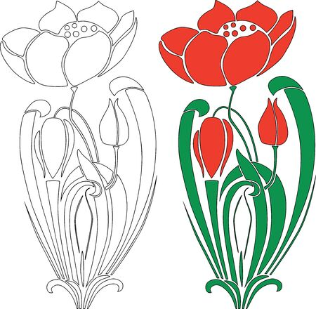 Vector drawing of decorative red tulip flower with buds 向量圖像