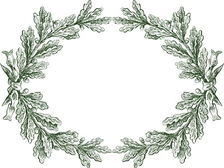 Vector floral frame from sketches oak branches with ribbon