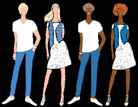 Vector freehand drawing of young people in summer cotton jeans clothing