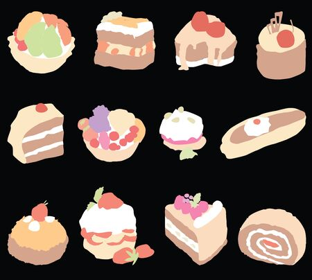 Vector image of set various sweet brownies