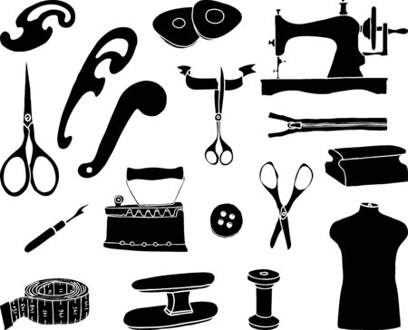 Vector image of silhouettes of various sewing tools for clothing manufacturing Ilustrace
