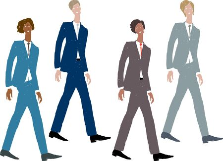 Vector image of striding young businessmen in classic suits Ilustrace
