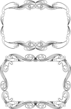 Vector outlines of ornamental frames in vintage style