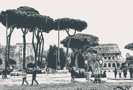 Vector cityscape of Rome street with pines and ruins of the Colosseum Ilustracja