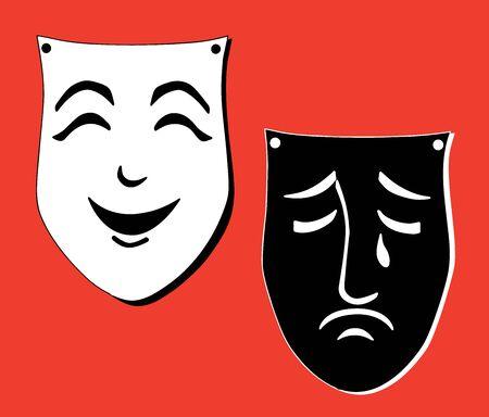 Vector image of emotional cheerful and sad masks