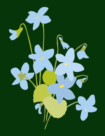 Vector image of small bouquet spring violets Illustration