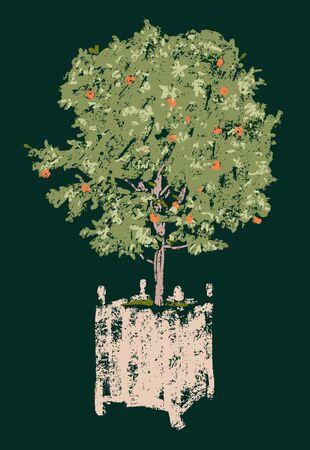 Vector sketch of orange tree in  flowerpot