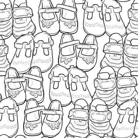 Seamless pattern of outlines shoes for little children