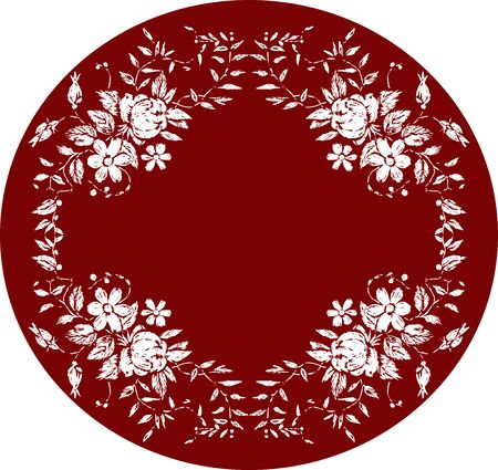 Vector background with decorative oval frame from roses and daisies sketches