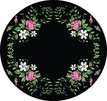 Vector background with floral decorative oval frame