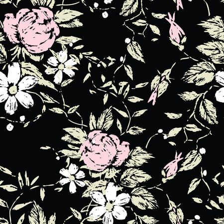 Seamless floral pattern of roses and daisies sketches Illusztráció