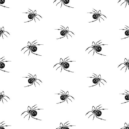 Seamless background of drawn poisonous spiders Ilustração