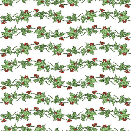 Seamless pattern of drawn holly branches for christmas decoration
