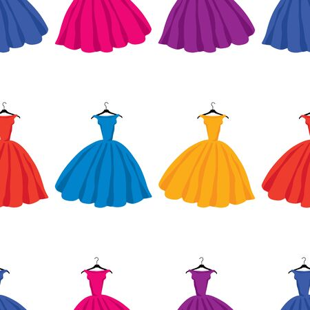 Seamless pattern of silhouettes colorful female dresses