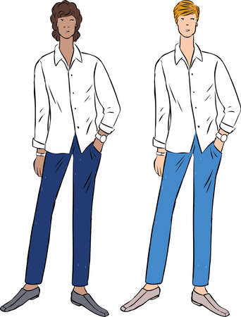 drawing of two young slim men in white shirts