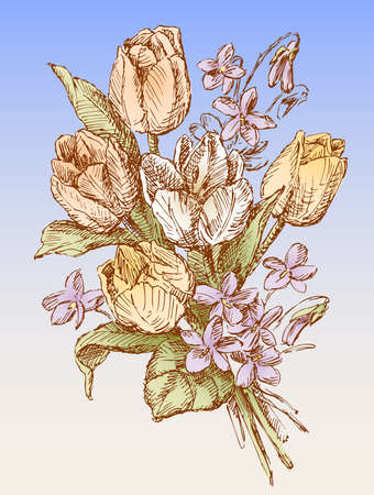 greeting card with spring bouquet of tulips and violets sketches
