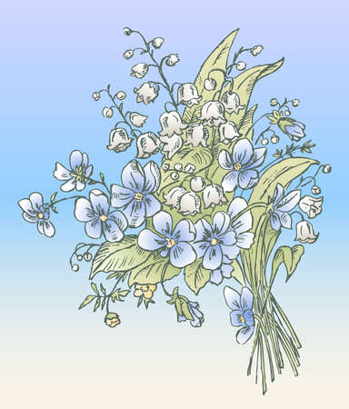 Vector greeting card with spring delicate bouquet of lilies of the valley and violets