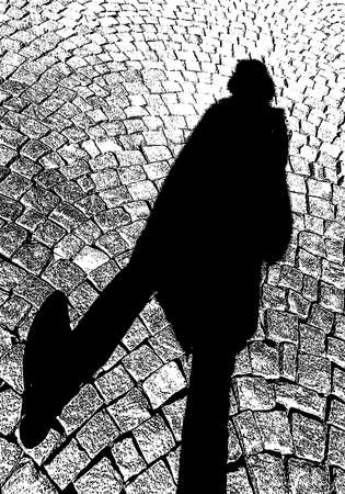 Vector illustration of cobblestone pavement with shadow citizen walking on sunny day Stock Illustratie