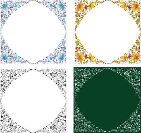 image of set floral frames from outlines decorative leaves