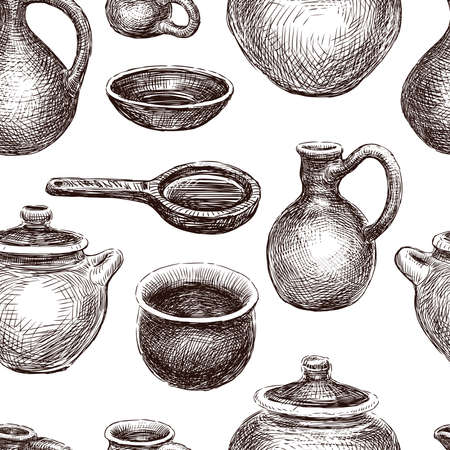 Seamless background from sketches of various pottery