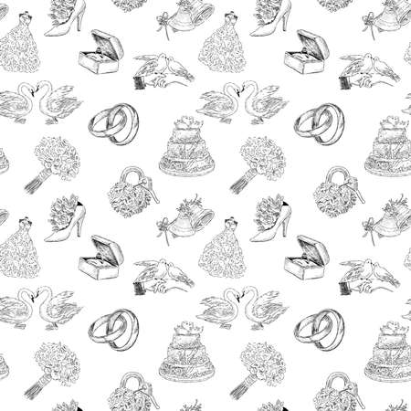 Seamless background of sketches various wedding symbols