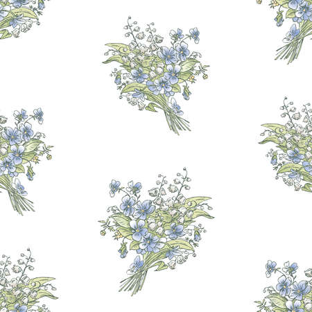 Seamless pattern of spring bouquets lilies of the valley and violets