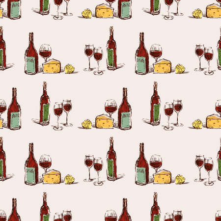 Seamless pattern of wine bottles, glasses,cheese and lemon sketches  イラスト・ベクター素材