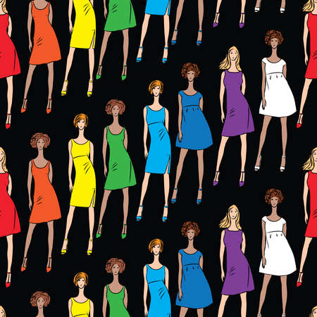Seamless background of fashionable young women in colorful dresses