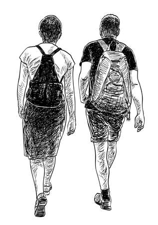 Sketch of couple tourists with backpacks walking down street Vettoriali