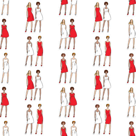 Seamless background of sketches fashionable young women in red and white dresses Illustration