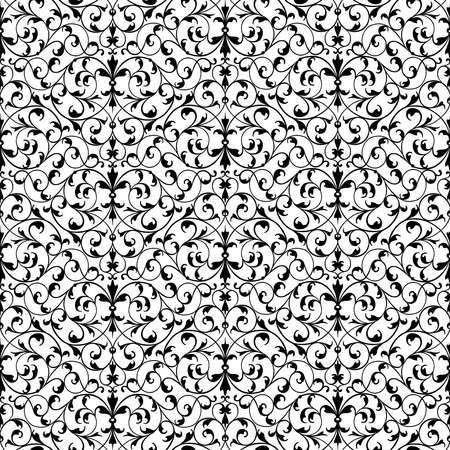 Vector seamless pattern of ornamental vintage floral elements