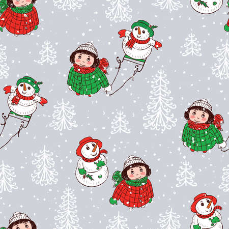 Seamless pattern of little girls with snowmen looking at snowfall  イラスト・ベクター素材