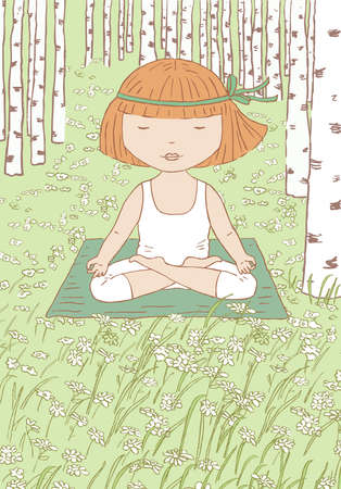 Vector illustration of little girl doing yoga on the grass in birch forest  イラスト・ベクター素材
