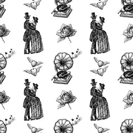 Seamless pattern from vintage drawings for valentines day  イラスト・ベクター素材