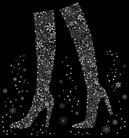 Vector image of silhouettes female elegante boots from snowflakes walking in winter  イラスト・ベクター素材