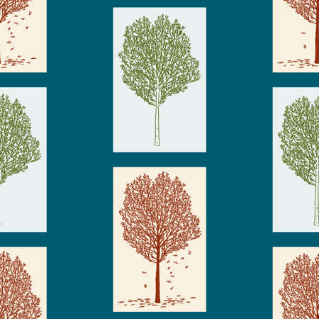 Seamless pattern of deciduous trees in spring and in autumn  イラスト・ベクター素材