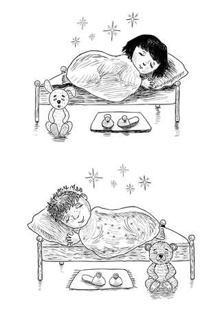 Sketches of little kids sleeping in their beds  イラスト・ベクター素材