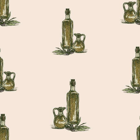Seamless background of sketches olive branches and olive oil in bottles