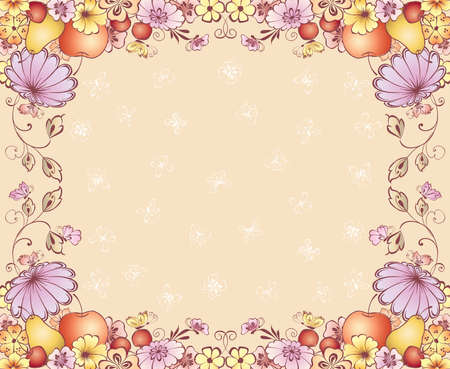 Vector greeting card with floral frame from fruits, flowers and butterflies  イラスト・ベクター素材
