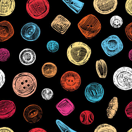 Seamless background of sketches colorful clothing buttons  イラスト・ベクター素材