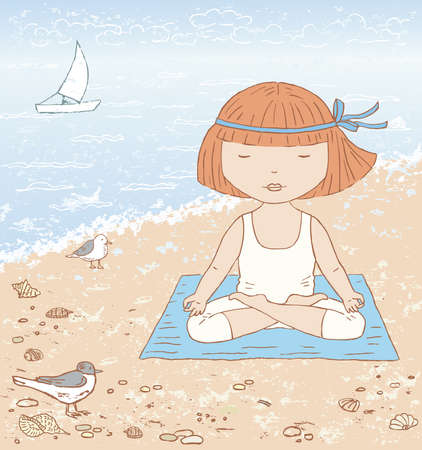 Vector illustration of a little girl doing yoga by the sea  イラスト・ベクター素材