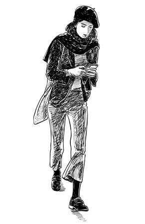 Sketch of young modern city girl in beret with smartphone striding along street