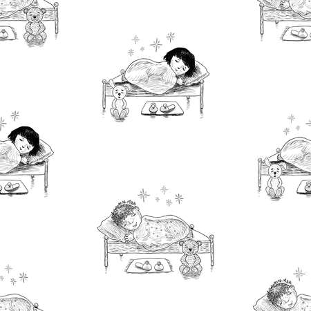 Seamless background of sketches of little kids sleeping in their beds