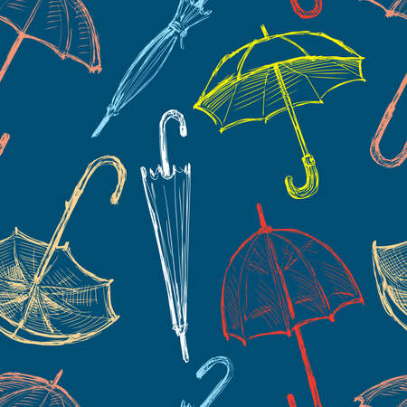 Seamless pattern of sketches colorful umbrellas