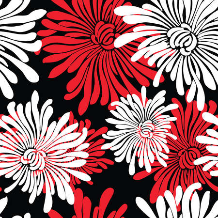 Seamless pattern of decorative red and white chrysanthemums