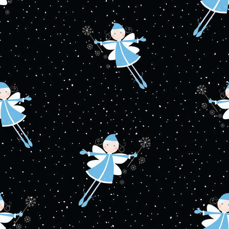 Seamless pattern of flying elves girls during snowfall in christmas eve