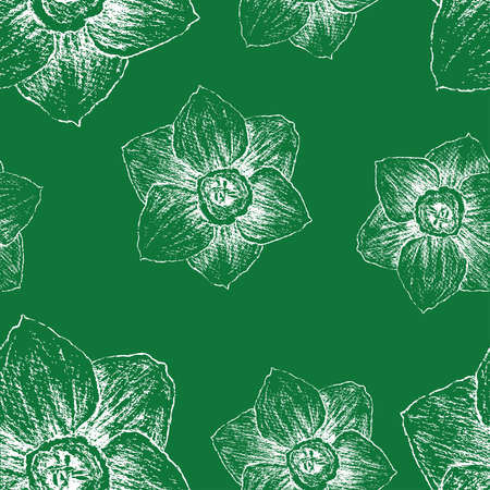 Seamless pattern of sketches delicate white flowers  イラスト・ベクター素材