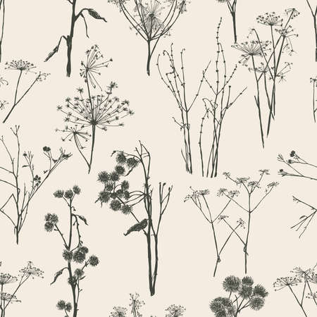 Seamless pattern of sketches various wild plants